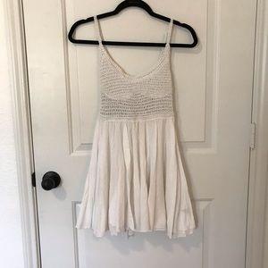 White Flowy Crochet Sundress
